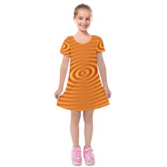 Circle Line Orange Hole Hypnotism Kids  Short Sleeve Velvet Dress by Alisyart
