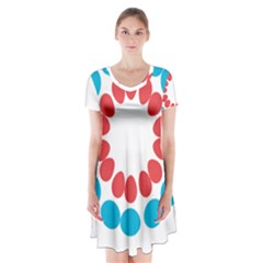 Egg Circles Blue Red White Short Sleeve V Neck Flare Dress by Alisyart