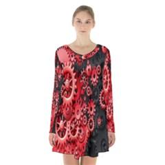 Gold Wheels Red Black Long Sleeve Velvet V Neck Dress by Alisyart
