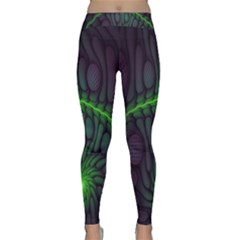 Light Cells Colorful Space Greeen Classic Yoga Leggings by Alisyart