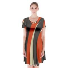 Mixing Gray Orange Circles Short Sleeve V Neck Flare Dress by Alisyart