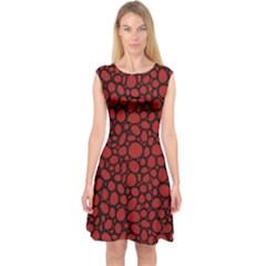 Tile Circles Large Red Stone Capsleeve Midi Dress by Alisyart