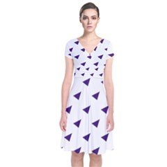 Triangle Purple Blue White Short Sleeve Front Wrap Dress