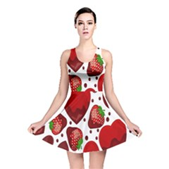 Strawberry Hearts Cocolate Love Valentine Pink Fruit Red Reversible Skater Dress by Alisyart