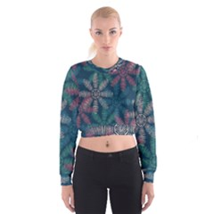 Spring Flower Red Grey Green Blue Women s Cropped Sweatshirt by Alisyart