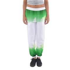 Green Floral Stripe Background Women s Jogger Sweatpants by Simbadda