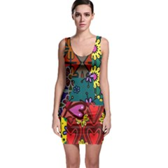 Patchwork Collage Sleeveless Bodycon Dress by Simbadda