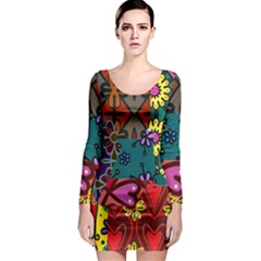 Patchwork Collage Long Sleeve Bodycon Dress by Simbadda