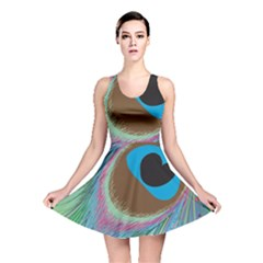 Peacock Feather Lines Background Reversible Skater Dress by Simbadda