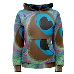 Peacock Feather Lines Background Women s Pullover Hoodie by Simbadda