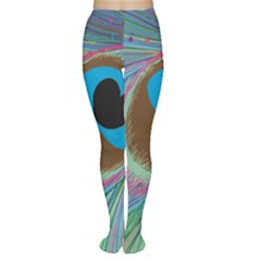 Peacock Feather Lines Background Women s Tights by Simbadda