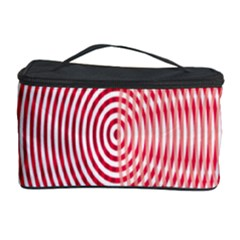 Circle Line Red Pink White Wave Cosmetic Storage Case by Alisyart