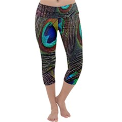 Peacock Feathers Capri Yoga Leggings by Simbadda