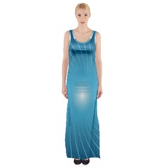Dreams Sun Blue Wave Maxi Thigh Split Dress