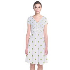 Green Spot Jpeg Short Sleeve Front Wrap Dress