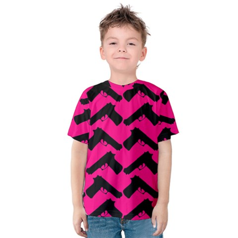 Pink Gun Kids  Cotton Tee by boho