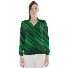 Abstract Blue Stripe Pattern Background Wind Breaker (women) by Simbadda