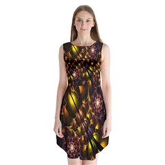 Art Design Image Oily Spirals Texture Sleeveless Chiffon Dress   by Simbadda