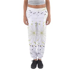 Retro Floral Flower Seamless Gold Blue Brown Women s Jogger Sweatpants