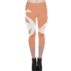 Swan Girl Face Hair Face Orange White Capri Leggings  by Alisyart