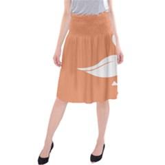 Swan Girl Face Hair Face Orange White Midi Beach Skirt by Alisyart