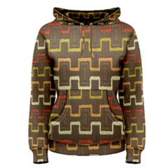 Fabric Texture Vintage Retro 70s Zig Zag Pattern Women s Pullover Hoodie by Simbadda