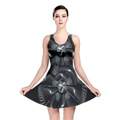Fractal Disk Texture Black White Spiral Circle Abstract Tech Technologic Reversible Skater Dress