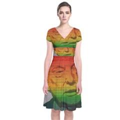 Rainbow Trump  Short Sleeve Front Wrap Dress by Valentinaart