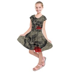 Skull And Rose  Kids  Short Sleeve Dress by Valentinaart