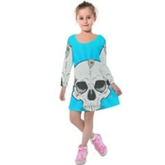 Skull Ball Line Schedule Kids  Long Sleeve Velvet Dress by Simbadda