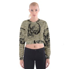 Skull Women s Cropped Sweatshirt by Valentinaart