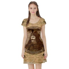 Count Vlad Dracula Short Sleeve Skater Dress by Valentinaart