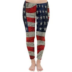 Vintage American Flag Classic Winter Leggings by Valentinaart