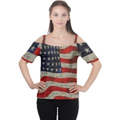 Vintage American Flag Women s Cutout Shoulder Tee by Valentinaart