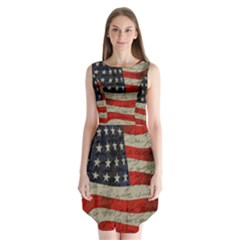Vintage American Flag Sleeveless Chiffon Dress   by Valentinaart