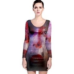 David Bowie  Long Sleeve Bodycon Dress by Valentinaart