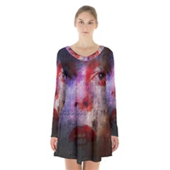David Bowie  Long Sleeve Velvet V Neck Dress by Valentinaart