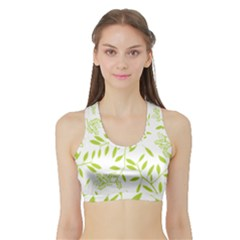 Leaves Pattern Seamless Sports Bra With Border by Simbadda