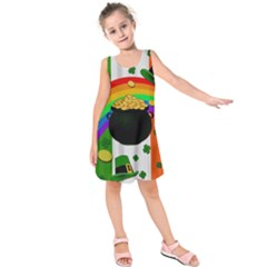 Pot Of Gold Kids  Sleeveless Dress by Valentinaart
