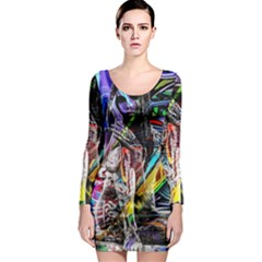 Graffiti Girl Long Sleeve Bodycon Dress by Valentinaart
