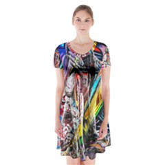 Graffiti Girl Short Sleeve V Neck Flare Dress by Valentinaart