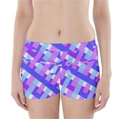 Geometric Plaid Gingham Diagonal Boyleg Bikini Wrap Bottoms by Simbadda