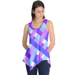 Geometric Plaid Gingham Diagonal Sleeveless Tunic by Simbadda