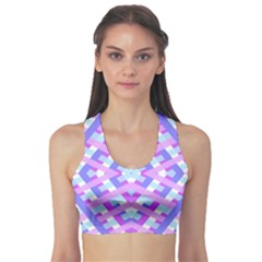 Geometric Gingham Merged Retro Pattern Sports Bra by Simbadda