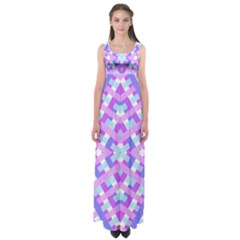 Geometric Gingham Merged Retro Pattern Empire Waist Maxi Dress by Simbadda