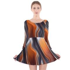 Fractal Structure Mathematics Long Sleeve Velvet Skater Dress by Simbadda