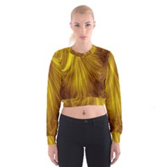 Flower Gold Hair Women s Cropped Sweatshirt by Alisyart