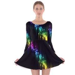 Illustrations Black Colorful Line Purple Yellow Pink Long Sleeve Velvet Skater Dress by Alisyart