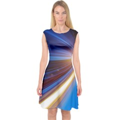 Glow Motion Lines Light Blue Gold Capsleeve Midi Dress by Alisyart