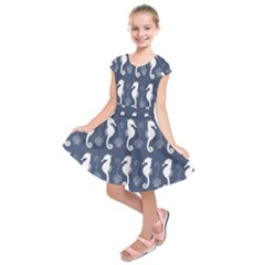 Seahorse And Shell Pattern Kids  Short Sleeve Dress by Simbadda